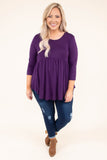 shirt, three quarter sleeve, babydoll, curved hem, flowy, comfy, purple, fall, winter