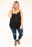 tank, spaghetti straps, black, solid, vneck, button down, thin, curved hem