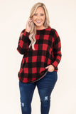 shirt, long sleeve, curved hem, flowy, red, black, plaid, comfy, fall, winter