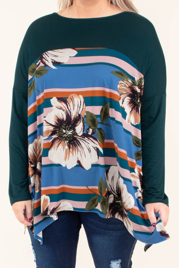 shirt, long sleeve, long, asymmetrical hem, flowy, green, floral, brown, white, striped, blue, teal, pink, orange, colorblock, comfy, fall, winter
