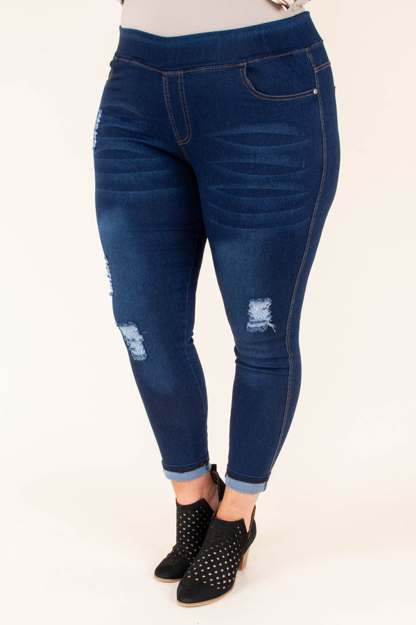 jeggings, long, skinny, blue, faded, distressed, ripped, comfy