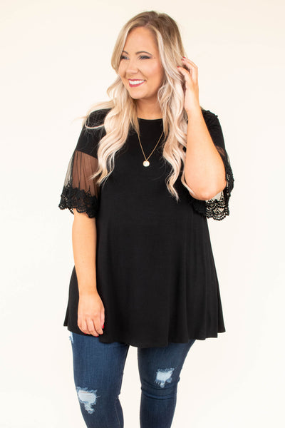 shirt, short sleeve, sheer sleeves, lace detail, flowy, black, comfy