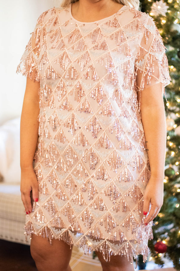 Dazzled Up Dress, Rose Gold