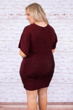 dress, short, short sleeve, vneck, twist front, fitted, wine, sparkly, comfy, holiday, party