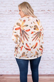 shirt, long sleeve, loose, white, feathers, orange, yellow, brown, comfy, fall, winter