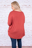 tunic, three quarter sleeve, knotted hem, long, loose, red, comfy