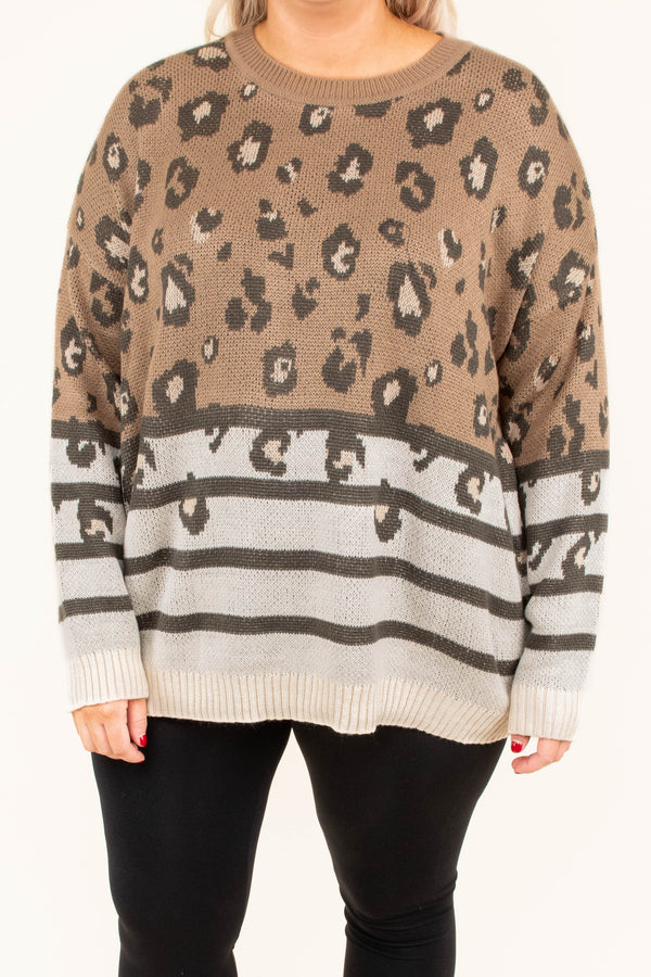 sweater, long sleeves, mocha, oatmeal, stripes, leopard, comfy, cozy, fall, winter