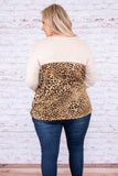 shirt, long sleeve, flowy, chest pocket, sparkly pocket, camel, tan, black, leopard, colorblock, comfy, fall, winter
