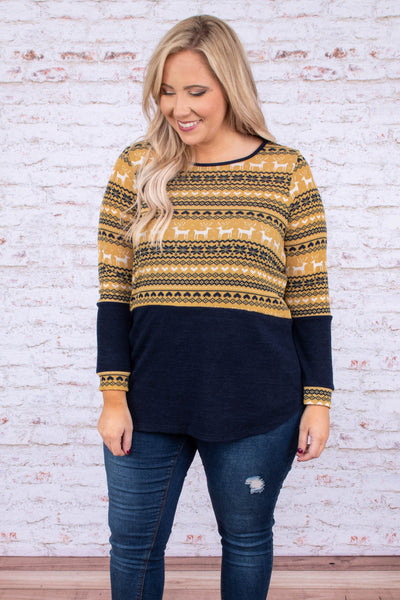 shirt, long sleeve, curved hem, mustard, navy, white, colorblock, reindeer, christmas, winter, comfy