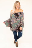 shirt, long sleeve, off the shoulder, bell sleeves, long, loose, brown, green, pink, gray, paisley, comfy, fall, winter