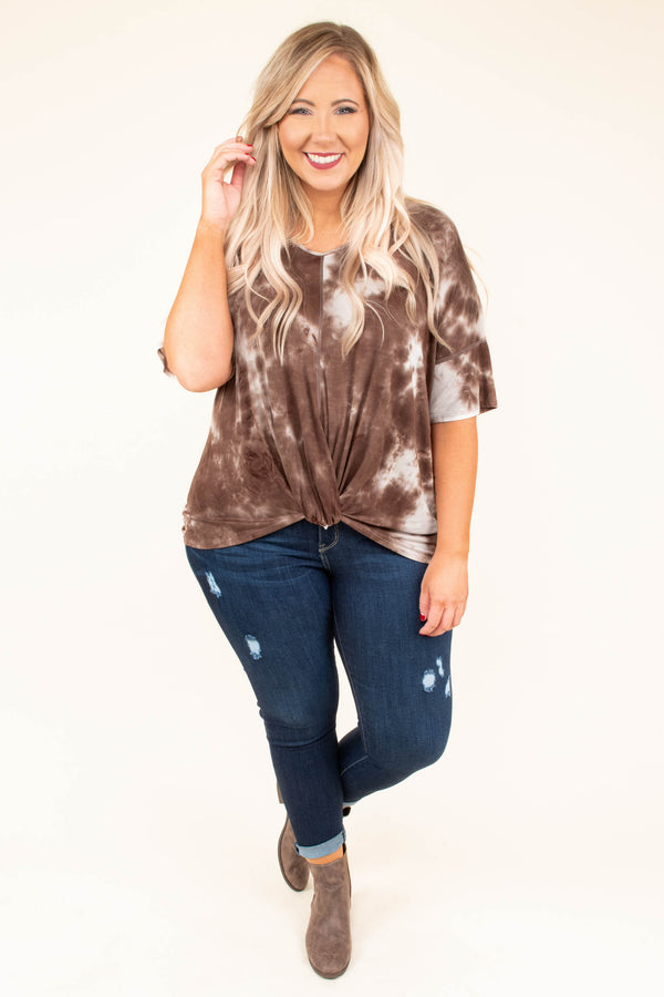 shirt, short sleeve, vneck, knotted hem, brown, white, tie dye, comfy, short