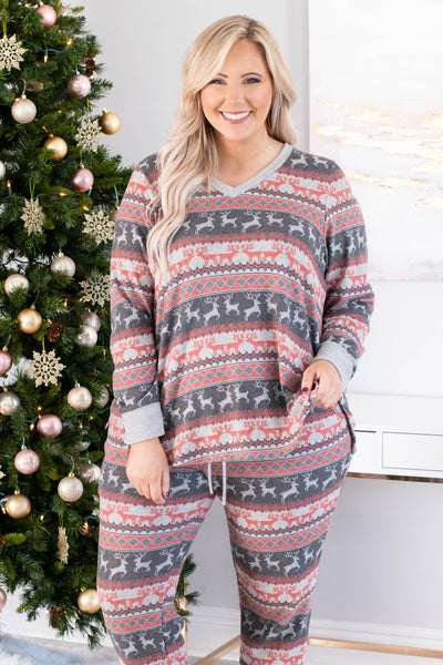 shirt, long sleeve, vneck, loose, loungewear, gray, red, reindeer, christmas, winter, comfy