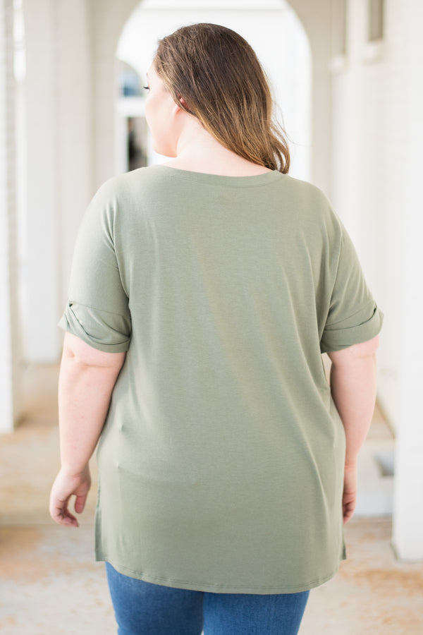 shirt, short sleeve, vneck, side slits, flowy, olive, solid, comfy, cuffed sleeve