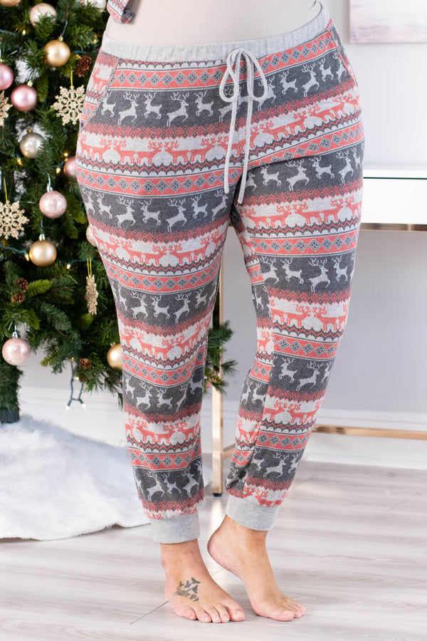 pants, lounge, long, jogger style, drawstring waist, pockets, gray, red, reindeer, diamonds, christmas, winter, comfy