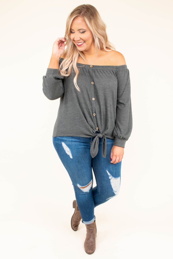 shirt, long sleeve, off the shoulder, button down, tie front, ribbed, charcoal, solid, comfy, short