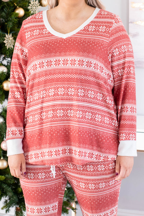 shirt, long sleeve, curved hem, vneck, loungewear, red, white, poinsettia print, christmas, winter, comfy