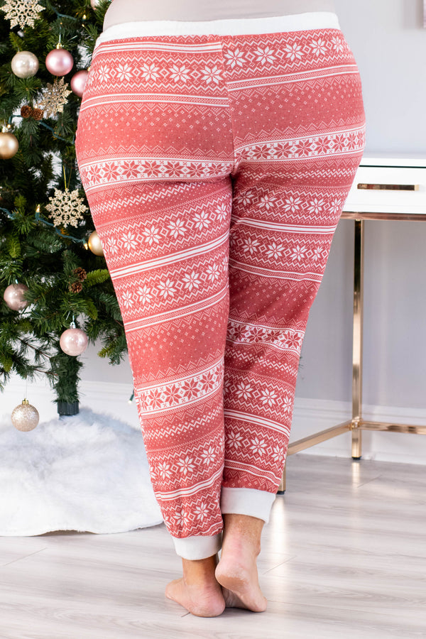 pants, long, jogger style, drawstring waist, pockets, loungewear, comfy, red, white, poinsettia print, winter