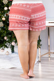 shorts, drawstring waist, pockets, loungewear, comfy, red, white, poinsettia print, winter