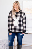 shirt, long sleeve, short, black, white, plaid, graphic, reindeer silhouette, comfy, winter