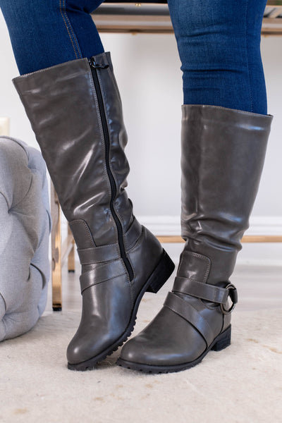 boots, tall, zip up side, strap details, gray, fall, winter