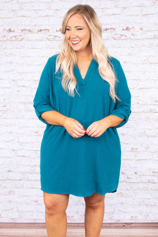 dress, three quarter sleeves, buttoned sleeves, vneck, teal, solid, flowy