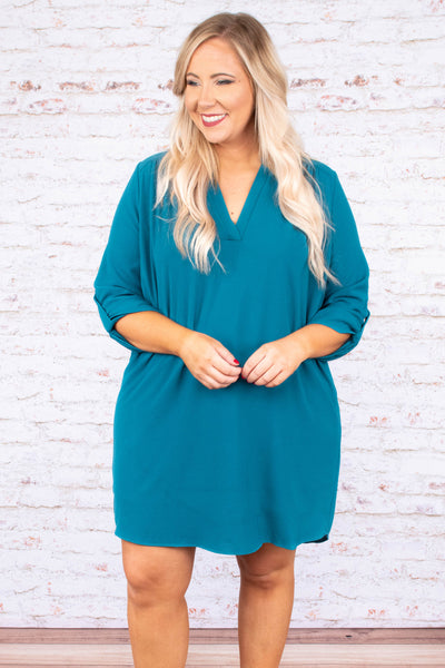 At First Glance Dress, Teal