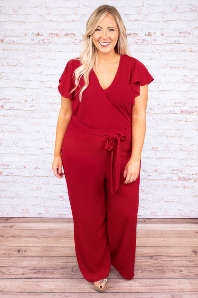 Try Not To Stare Jumpsuit, Red