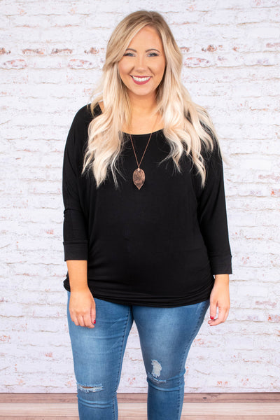 top, long sleeve, black, ruched side