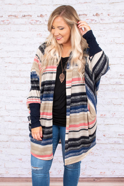 cardigan, long sleeve, fitted cuffs, long, flowy, black, tan, pink, blue, striped, comfy, outerwear, fall, winter