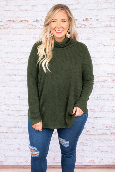 top, long sleeve, olive, green, turtle neck, flowy, comfy, cozy