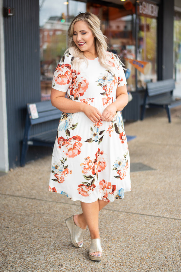 dress, short sleeve, pleated, midi dress, floral