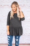 top, casual top, three quarter sleeve, grey, ruffles, pleated