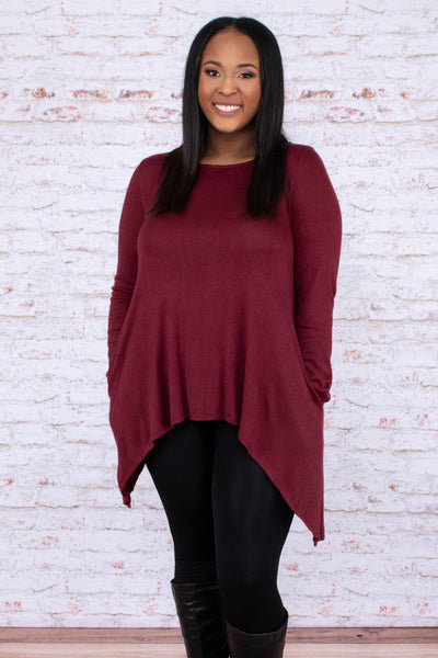 shirt, long sleeve, long, asymmetrical hem, pockets, flowy, burgundy, comfy, fall, winter