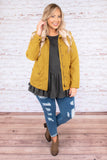 jacket, long sleeve, cinched waist, pockets, zip up, mustard, outerwear, fall, winter