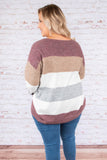 sweater, long sleeve, long, fuzzy, burgundy, brown, white, gray, colorblock, comfy, fall, winter