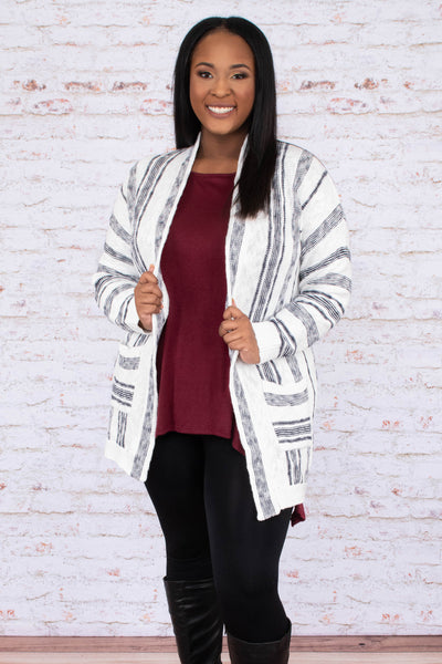 cardigan, long sleeve, long, pockets, white, black, striped, comfy