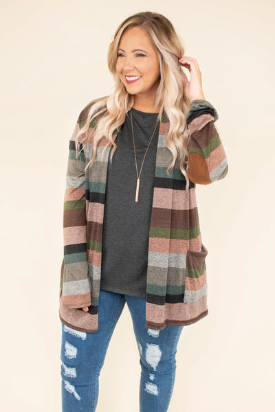 cardigan, long sleeve, pockets, elbow patches, pink, green, mauve, black, gray, teal, striped, flowy, comfy, fall, winter