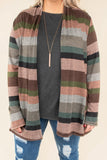 top, cardigan, pink, brown, striped, long sleeve, elbow patch, pockets