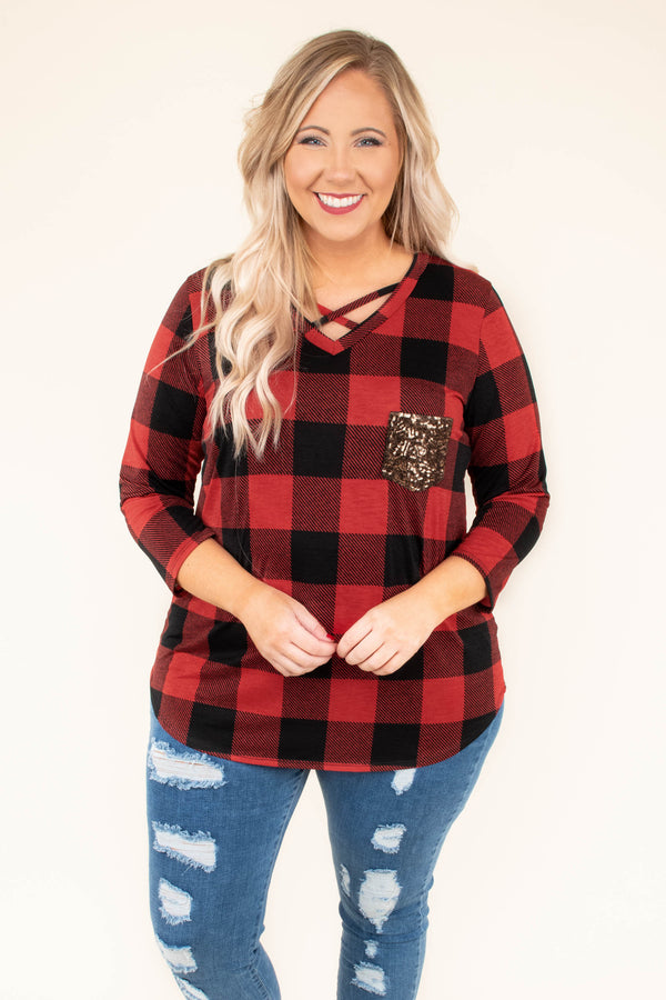 shirt, three quarter sleeve, vneck, crisscross neckline, curved hem, fitted, chest pocket, red, black, plaid, comfy, fall, winter