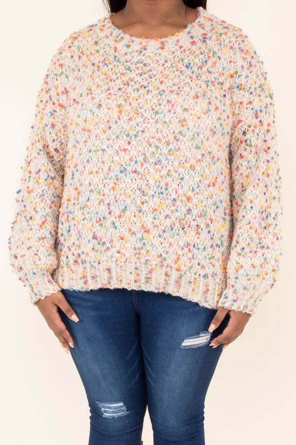 sweater, long sleeve, short, white, multicolored speckles, comfy, fall, winter