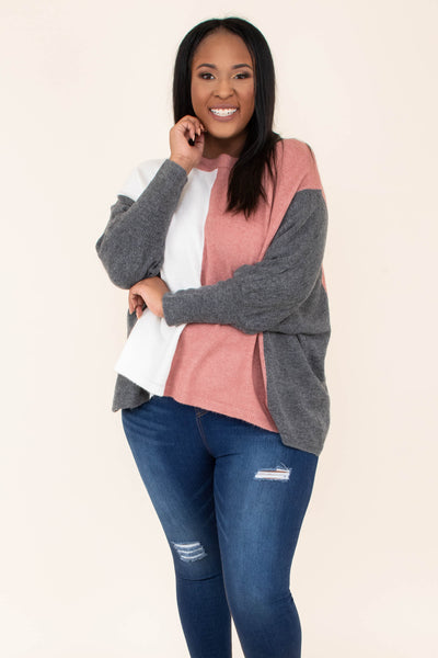 shirt, long sleeve, flowy, longer back, charcoal, mauve, white, colorblock, comfy, fall, winter