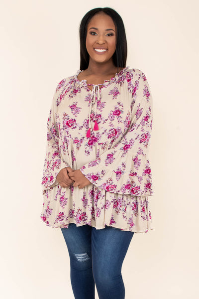tunic, long sleeve, bell sleeves, ruffle neckline, tied neckline, flowy, tan, floral, pink, purple, comfy
