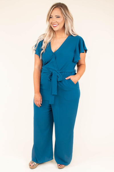 Try Not To Stare Jumpsuit, Teal