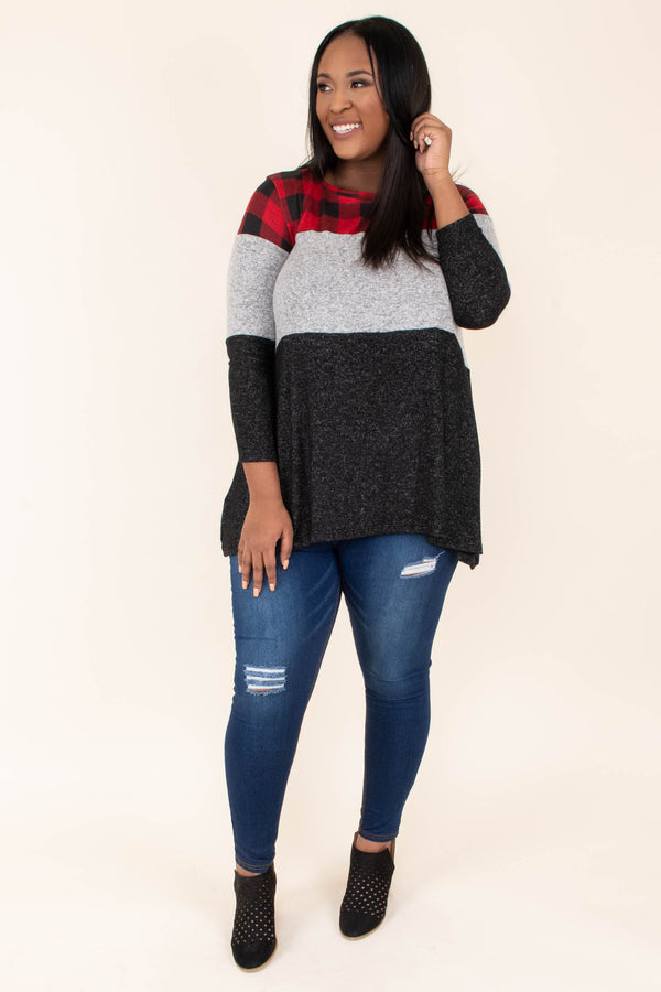 shirt, three quarter sleeve, flowy, red, black, plaid, gray, colorblock, comfy, fall, winter