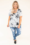 top, tie dye, short sleeve, scoop neck, neck tie