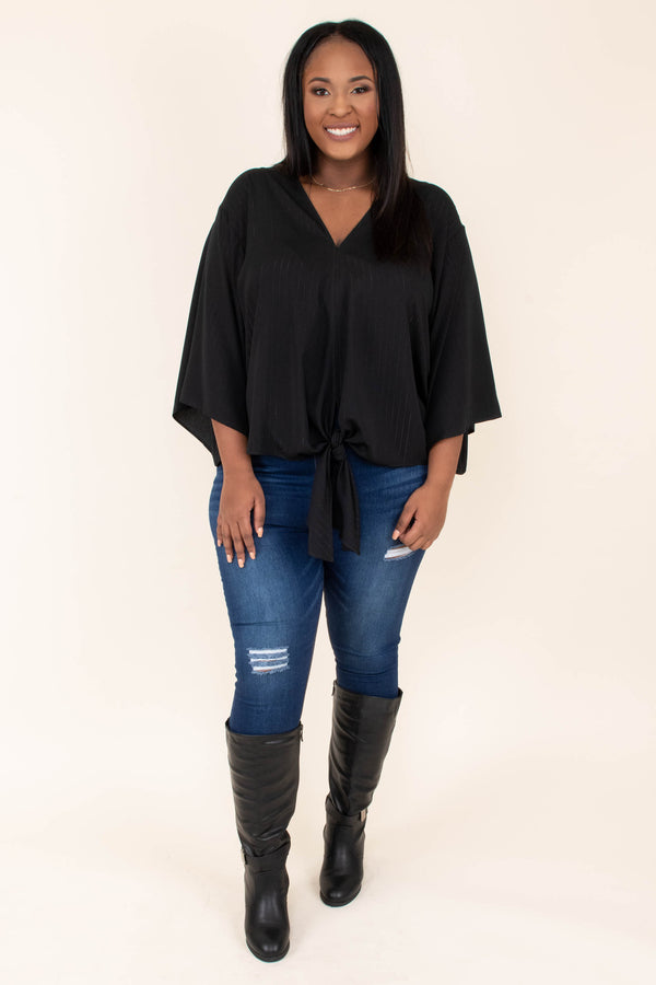 shirt, three quarter sleeve, vneck, tie front, flowy sleeves, short, drapey, black, comfy