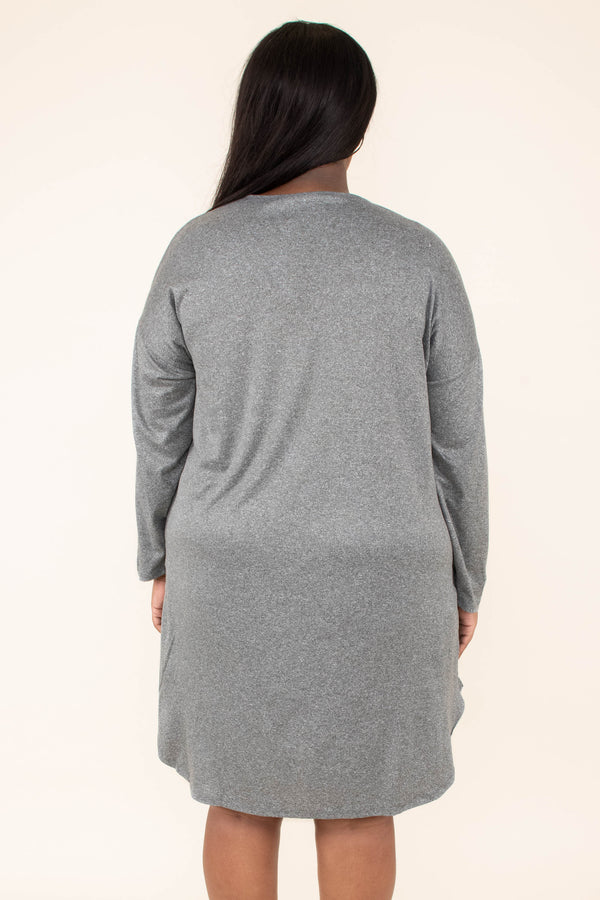 dress, short, long sleeve, pockets, curved hem, flowy, gray, comfy