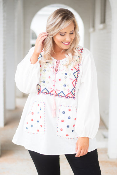 top, blouse, long sleeve, embroidered, tie at the top, white