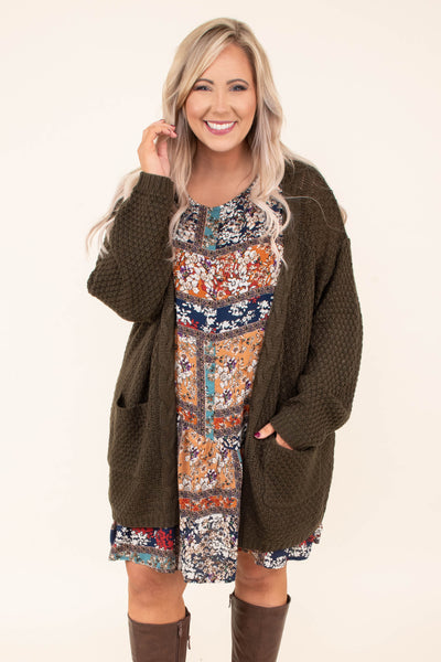 cardigan, long sleeve, long, pockets, cable knit, roomy, olive, comfy, fall, winter