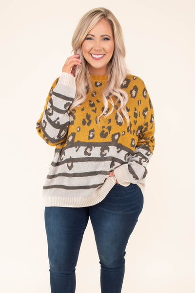 sweater, long sleeve, loose, comfy, yellow, gray, white, leopard, stripes, fall, winter